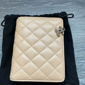 Chanel Barely Used Beige Leather Quilted Wallet